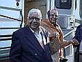 S. N. Goenka and his wife arriving at Eastover, MA.